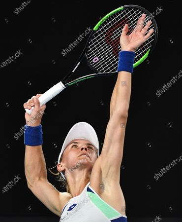 Lesia Tsurenko in action during her Women's Singles First Round match