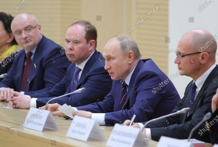 (L-R) Chairman of the Russian Federation Council Committee on Constitutional Legislation and State Construction Andrei Klishas, Chief of Staff of the Presidential Executive Office Anton Vaino, Russian President Vladimir Putin and First Deputy Chief of Staff of the Presidential Office Sergei Kiriyenko attend a meeting to prepare amendments to the Russian constitution at Novo-Ogaryovo residence outside Moscow, Russia, 16 January 2020. The constitutional amendments were proposed by Vladimir Putin in address to the Federal Assembly 15 January 2020.