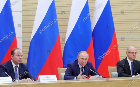 Chief of Staff of the Presidential Executive Office Anton Vaino (L), Russian President Vladimir Putin (C) and First Deputy Chief of Staff of the Presidential Office Sergei Kiriyenko (R) attend a meeting to prepare amendments to the Russian constitution at Novo-Ogaryovo residence outside Moscow, Russia, 16 January 2020. The constitutional amendments were proposed by Vladimir Putin in address to the Federal Assembly 15 January 2020.