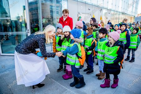 Crown Princess Mette-Marit welcomed the 1000 children who carried over 6,000 books from Oslo´s old library to the new library building  opening in March in Oslo, Norway, 16 January 2020.