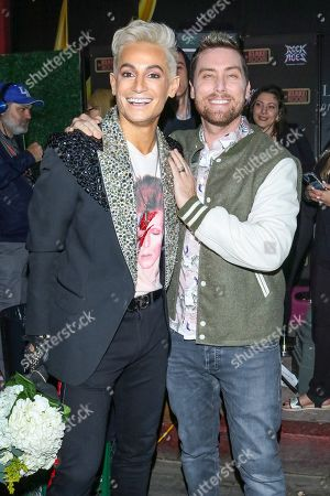 Frankie Grande and Lance Bass outside Bourbon Room in West Hollywood