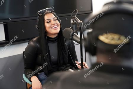 """Amani Al-Khatahtbeh, founder of Muslimgirl.com, records a podcast pilot at Spotify's headquarters in New York. On her site, Al-Khatahtbeh is especially proud of stories that deal with race and sexuality. """"Of course, female sexuality is honored within our religion, and it shouldn't be something we shy away from or think of as a taboo"""