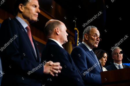 John Roberts. Democratic leader Sen. Chuck Schumer, D-N.Y., talk to reporters about the impeachment trial of President Donald Trump on charges of abuse of power and obstruction of Congress, at the Capitol in Washington, . With Schumer from left is Sen. Richard Blumenthal, D-Conn., Sen. Chris Coons, D-Del., Sen. Kamala Harris, D-Calif., and Sen. Chris Van Hollen, D-Md