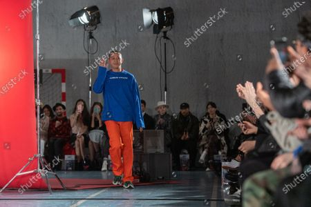 Taiwanese designer Angus Chiang appears on the catwalk after the presentation of his Fall/Winter 2020/2021 Men's collection during the Paris Fashion Week, in Paris, France, 16 January 2020. The presentation of the men's collections runs from 14 to 19 January.