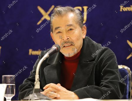Tatsuya Fuji speaks before press after a preview screening of Japanese movie 'Complicity, Yasashii Kyoha' at the Foreign Correspondents' Club of Japan in Tokyo