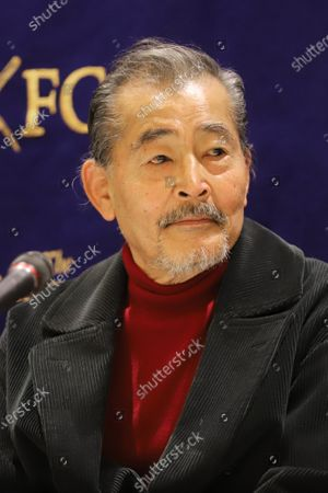 Stock Image of Tatsuya Fuji speaks before press after a preview screening of Japanese movie 'Complicity, Yasashii Kyoha' at the Foreign Correspondents' Club of Japan in Tokyo