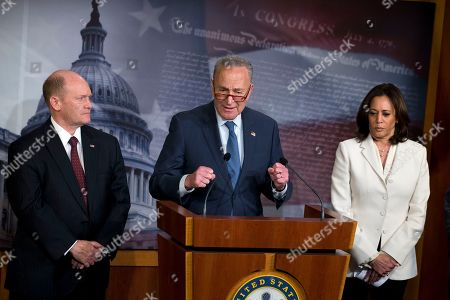 Chuck Schumer, Kamala Harris, Sen. Chris Coons. Senate Minority Leader Chuck Schumer, D-N.Y., accompanied by Sen. Chris Coons, D-Del., and Sen. Kamala Harris D-Calif., speaks during a news conference on Capitol Hill in Washington