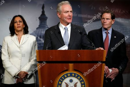 Chris Von Hollen, D-Md., center, stands with Sen. Kamala Harris, D-Calif., left, a member of the Senate Judiciary Committee, and Sen. Richard Blumenthal, D-Conn., as she speaks during a news conference talking about the impeachment trial of President Donald Trump on charges of abuse of power and obstruction of Congress, at the Capitol in Washington