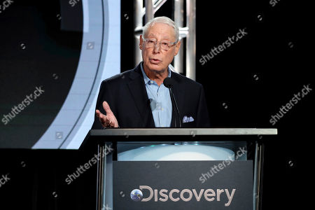 "Henry Schleiff speaks at the Investigation Discovery's ""In Memoriam"" during the Discovery Network TCA 2020 Winter Press Tour at the Langham Huntington, in Pasadena, Calif"