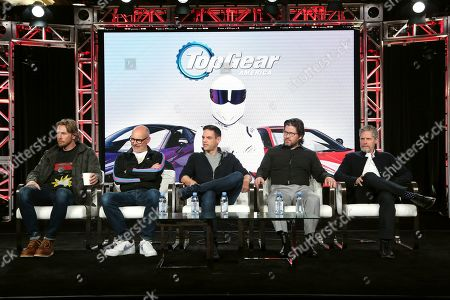 "Dax Shepard, Rob Corddry, Jethro Bovingdon, Mike Suggett, Travis Shakespeare. Dax Shepard, from left, Rob Corddry, Jethro Bovingdon, Mike Suggett and Travis Shakespeare speak at the Motortrend's ""Top Gear America"" during the Discovery Network TCA 2020 Winter Press Tour at the Langham Huntington, in Pasadena, Calif"