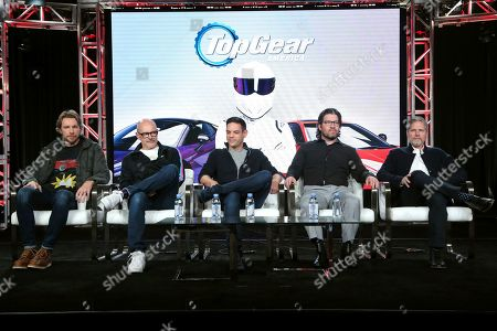 "Dax Shepard, Rob Corddry, Jethro Bovingdon, Mike Suggett, Travis Shakespeare. Dax Shepard, from left, Rob Corddry, Jethro Bovingdon, Mike Suggett and Travis Shakespeare appear at the Motortrend's ""Top Gear America"" during the Discovery Network TCA 2020 Winter Press Tour at the Langham Huntington, in Pasadena, Calif"