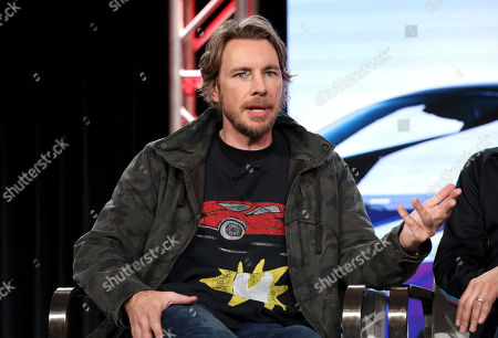 "Dax Shepard speaks at the Motortrend's ""Top Gear America"" during the Discovery Network TCA 2020 Winter Press Tour at the Langham Huntington, in Pasadena, Calif"