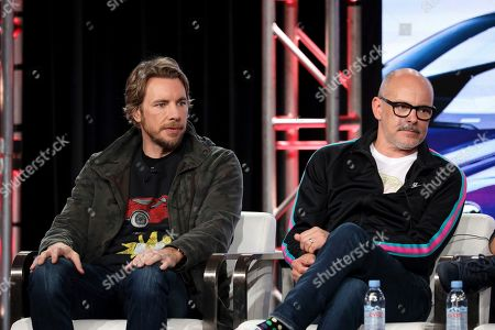 "Dax Shepard, Rob Corddry. Dax Shepard, left, and Rob Corddry appear at the Motortrend's ""Top Gear America"" during the Discovery Network TCA 2020 Winter Press Tour at the Langham Huntington, in Pasadena, Calif"