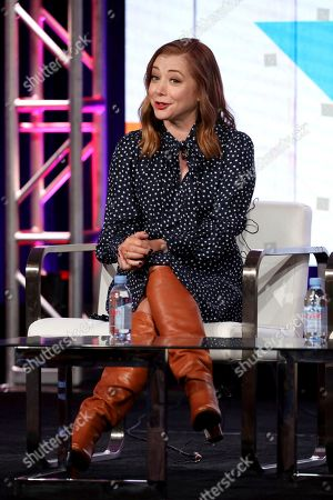 """Stock Photo of Alyson Hannigan speaks at the Food Network's """"Girl Scout Cookie Championship"""" during the Discovery Network TCA 2020 Winter Press Tour at the Langham Huntington, in Pasadena, Calif"""