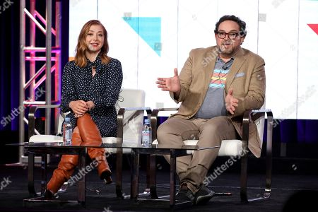 "Alyson Hannigan, Nacho Aguirre. Alyson Hannigan, left, and Nacho Aguirre appear at the Food Network's ""Girl Scout Cookie Championship"" during the Discovery Network TCA 2020 Winter Press Tour at the Langham Huntington, in Pasadena, Calif"