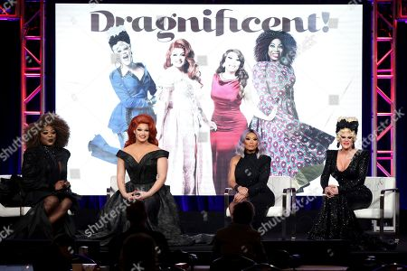 """Bebe Zahara Benet, Alexis Michelle, Jujubee, Thorgy Thor. Drag Queens Bebe Zahara Benet, from left, Alexis Michelle, Jujubee and Thorgy Thor appear at the TLC's """"Dragnificent!"""" during the Discovery Network TCA 2020 Winter Press Tour at the Langham Huntington, in Pasadena, Calif"""