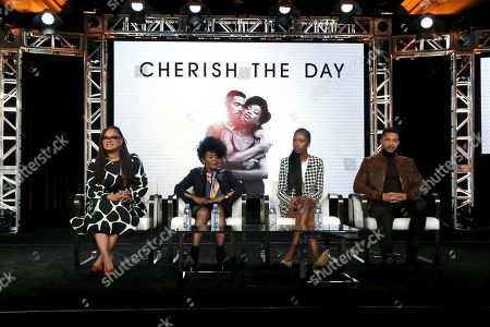 """Ava DuVernay, Cicely Tyson, Xosha Roquemore, Alano Miller. Ava DuVernay, from left, Cicely Tyson, Xosha Roquemore and Alano Miller appear at the OWN: Oprah Winfrey Network's """"Cherish the Day"""" during the Discovery Network TCA 2020 Winter Press Tour at the Langham Huntington, in Pasadena, Calif"""