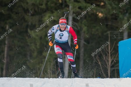RUHPOLDING, GERMANY - : Simon Eder of Austria at the IBU World Cup Biathlon, Man 10 KM Sprint at the Chiemgau Arena on in Ruhpolding, Germany. (Photo by Horst Ettensberger/ESPA-Images)