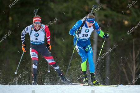 RUHPOLDING, GERMANY - : Simon Eder of Austria and Raman Yaliotnau of Belarus at the IBU World Cup Biathlon, Man 10 KM Sprint at the Chiemgau Arena on in Ruhpolding, Germany. (Photo by Horst Ettensberger/ESPA-Images)