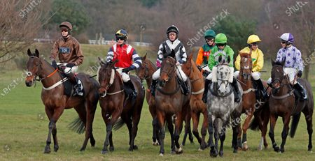 Runners gather for the start of The Racing TV Handicap Chase won by BALGEMMOIS (2nd right, James Bowen) Market Rasen