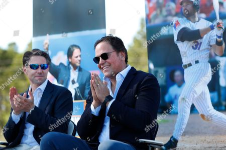 Mike Piazza, Jeff Wilpon. Former New York Mets catcher Mike Piazza, right, acknowledges the crowd as Mets COO Jeff Wilpon, left, claps during a ceremony to name a street Piazza Dr., in front of the Mets spring training facility, in Port St. Lucie, Fla