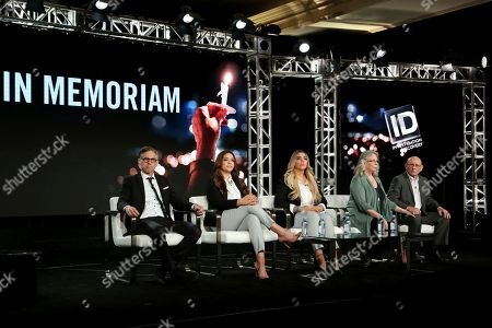 """Ben Steele, Natalia Baca, Gianna Baca, Sandy Phillips, Lonnie Phillips. Director Ben Steele, from left, Survivors, Route 91 Harvest Music Festival, Las Vegas Natalia Baca and Gianna Baca, and founders, SurvivorsEmpowered.com Sandy Phillips and Lonnie Phillips speak at the Investigation Discovery's """"In Memoriam"""" during the Discovery Network TCA 2020 Winter Press Tour at the Langham Huntington, in Pasadena, Calif"""