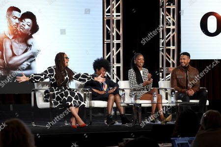 """Ava DuVernay, Cicely Tyson, Xosha Roquemore, Alano Miller. Ava DuVernay, from left, Cicely Tyson, Xosha Roquemore and Alano Miller speak at the OWN: Oprah Winfrey Networky's """"Cherish the Day"""" during the Discovery Network TCA 2020 Winter Press Tour at the Langham Huntington, in Pasadena, Calif"""