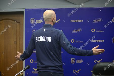 Stock Picture of The coach of Ecuador, Jordi Cruyff, offers a press conference, in Guayaquil, Ecuador, 16 January 2020. Ecuador will debut against Argentina for the qualifiers to the World Cup in Qatar 2022.