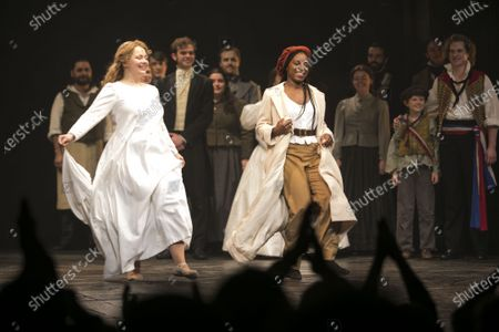 Carrie Hope Fletcher (Fantine) and Shan Ako (Eponine) during the curtain call