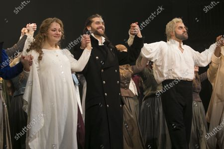 Carrie Hope Fletcher (Fantine), Bradley Jaden (Javert) and Jon Robyns (Jean Valjean) during the curtain call