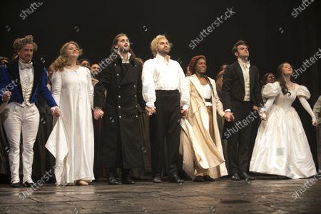 Stock Image of Ian Hughes (Thenardier), Carrie Hope Fletcher (Fantine), Bradley Jaden (Javert), Jon Robyns (Jean Valjean), Shan Ako (Eponine), Harry Apps (Marius) and Lily Kerhoas (Cosette) during the curtain call