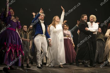 Stock Image of Josefina Gabrielle (Madame Thenardier), Ian Hughes (Thenardier), Carrie Hope Fletcher (Fantine), Bradley Jaden (Javert) and Jon Robyns (Jean Valjean) during the curtain call