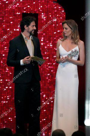 Maria Hervas (R) and Spanish actor and filmmaker Paco Leon (L) onstage during the 2020 Premios Feroz (Feroz Awards) ceremony at the Teatro Auditorio Ciudad de Alcobendas in Madrid, Spain, 16 January 2020.