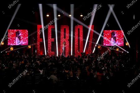 Maria Hervas (C) onstage during the 2020 Premios Feroz (Feroz Awards) ceremony at the Teatro Auditorio Ciudad de Alcobendas in Madrid, Spain, 16 January 2020.