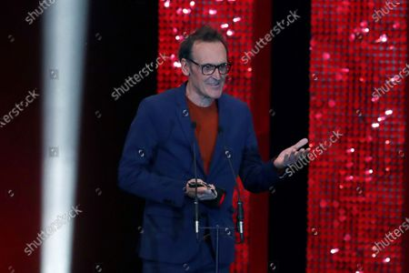 Alberto Iglesias receives the Best Music award during the 2020 Premios Feroz (Feroz Awards) ceremony at the Teatro Auditorio Ciudad de Alcobendas in Madrid, Spain, 16 January 2020.