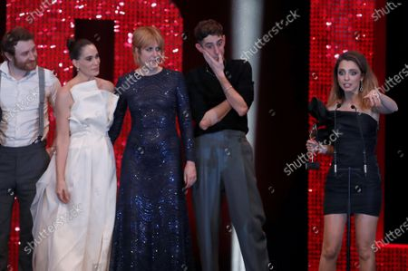 Spanish TV series Vida Perfecta (Perfect Life)'s Director, screenwriter and cast member Leticia Dolera(R) delivers a speech after winning the Feroz Award to Best Comedy Series during after the 2020 Premios Feroz (Feroz Awards) ceremony at the Teatro Auditorio Ciudad de Alcobendas in Madrid, Spain, 16 January 2020 (issued 17 January 2020).