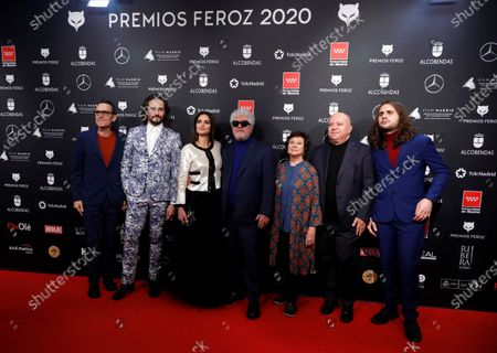 'Pain and Glory' cast and crew; Spanish film director Pedro Almodovar (C), Spanish actress Penelope Cruz (3-L), actor Asier Etxeandia (2-L), actress Julieta Serrano (3-R) and producer Agustin Almodovar (2-R) attend the 2020 Premios Feroz (Feroz Awards) ceremony at the Teatro Auditorio Ciudad de Alcobendas in Madrid, Spain, 16 January 2020.