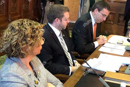 Stock Image of Senators Claire Celsi, Jake Chapman and Roby Smith conduct a subcommittee meeting on a proposed constitutional amendment that would declare there is no right to an abortion under the Iowa Constitution, at the Iowa Capitol in Des Moines, Iowa, on