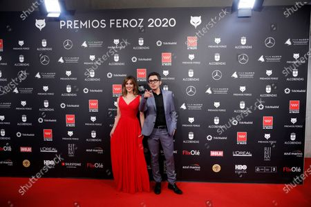 Spanish actress Ana Ugarte (L) and Spanish actor Berto Romero (R) attend the 2020 Premios Feroz (Feroz Awards) ceremony at the Teatro Auditorio Ciudad de Alcobendas in Madrid, Spain, 16 January 2020.