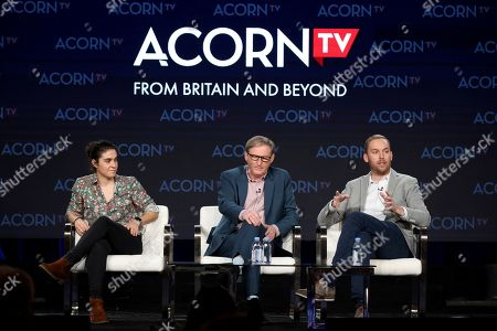 """Sophie Petzal, Adrian Dunbar, Jonathan Fisher. Sophie Petzal, from left, Adrian Dunbar and Jonathan Fisher appear at the ACORN TV's """"Blood"""" panel during the AMC Networks TCA 2020 Winter Press Tour at the Langham Huntington, in Pasadena, Calif"""