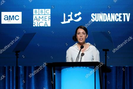"Stock Photo of Sarah Barnett speaks at the BBC America's ""Seven Worlds, One Planet"" panel during the AMC Networks TCA 2020 Winter Press Tour at the Langham Huntington, in Pasadena, Calif"