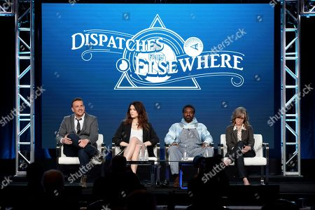 """Stock Image of Jason Segel, Eve Lindley, Andre Benjamin, Sally Field. Jason Segel, from left, Eve Lindley, Andre Benjamin and Sally Field appear at the AMC's """"Dispatches from Elsewhere"""" panel during the AMC Networks TCA 2020 Winter Press Tour at the Langham Huntington, in Pasadena, Calif"""