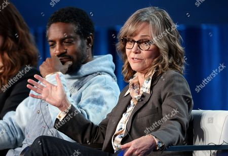 """Stock Photo of Andre Benjamin, Sally Field. Andre Benjamin, left, and Sally Field speak at the AMC's """"Dispatches from Elsewhere"""" panel during the AMC Networks TCA 2020 Winter Press Tour at the Langham Huntington, in Pasadena, Calif"""