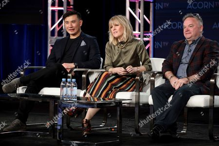 "Matt McCooey, Ashley Jensen, Barry Ryan. Matt McCooey, from left, Ashley Jensen and Barry Ryan speak at the ACORN TV's ""Agatha Raisin"" during the AMC Networks TCA 2020 Winter Press Tour at the Langham Huntington, in Pasadena, Calif"
