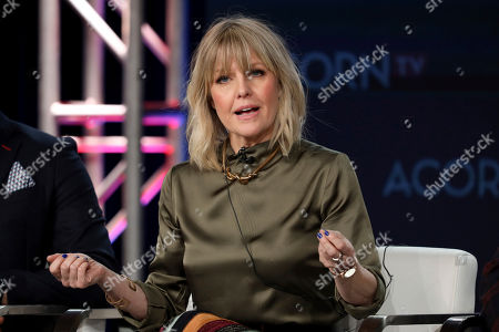"Ashley Jensen speak at the ACORN TV's ""Agatha Raisin"" during the AMC Networks TCA 2020 Winter Press Tour at the Langham Huntington, in Pasadena, Calif"