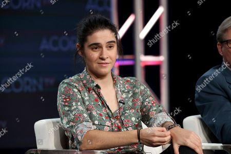 """Sophie Petzal speaks at the ACORN TV's """"Blood"""" panel during the AMC Networks TCA 2020 Winter Press Tour at the Langham Huntington, in Pasadena, Calif"""