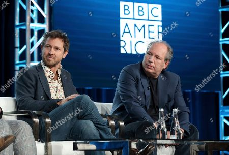 """Chadden Hunter, Hans Zimmer. Chadden Hunter, left, and Hans Zimmer speak at the BBC America's """"Seven Worlds, One Planet"""" panel during the AMC Networks TCA 2020 Winter Press Tour at the Langham Huntington, in Pasadena, Calif"""