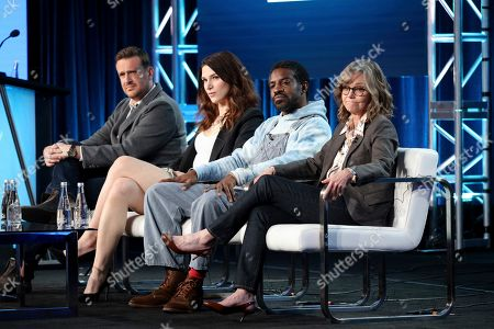 """Stock Picture of Jason Segel, Eve Lindley, Andre Benjamin, Sally Field. Jason Segel, from left, Eve Lindley, Andre Benjamin and Sally Field speak at the AMC's """"Dispatches from Elsewhere"""" panel during the AMC Networks TCA 2020 Winter Press Tour at the Langham Huntington, in Pasadena, Calif"""