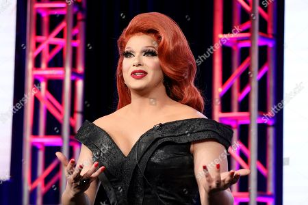"""Stock Image of Alexis Michelle speaks at the TLC's """"Dragnificent!"""" during the Discovery Network TCA 2020 Winter Press Tour at the Langham Huntington, in Pasadena, Calif"""