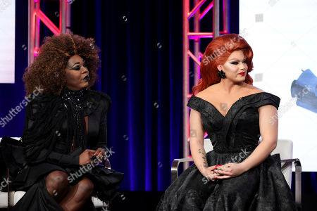 """Stock Photo of Bebe Zahara Benet, Alexis Michelle. Bebe Zahara Benet, left, and Alexis Michelle speak at the TLC's """"Dragnificent!"""" during the Discovery Network TCA 2020 Winter Press Tour at the Langham Huntington, in Pasadena, Calif"""